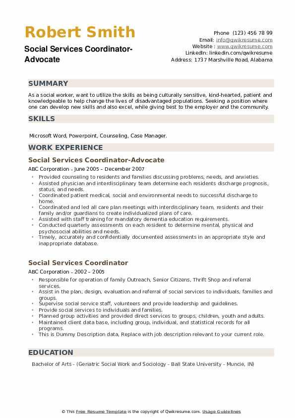 Social Services Coordinator-Advocate Resume Format