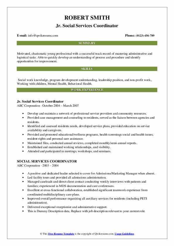 Jr. Social Services Coordinator Resume Format