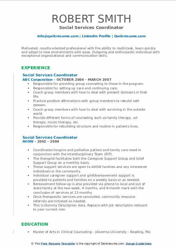 Social Services Coordinator Resume example