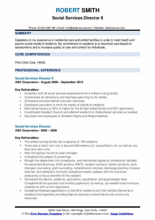 Social Services Director II Resume Model