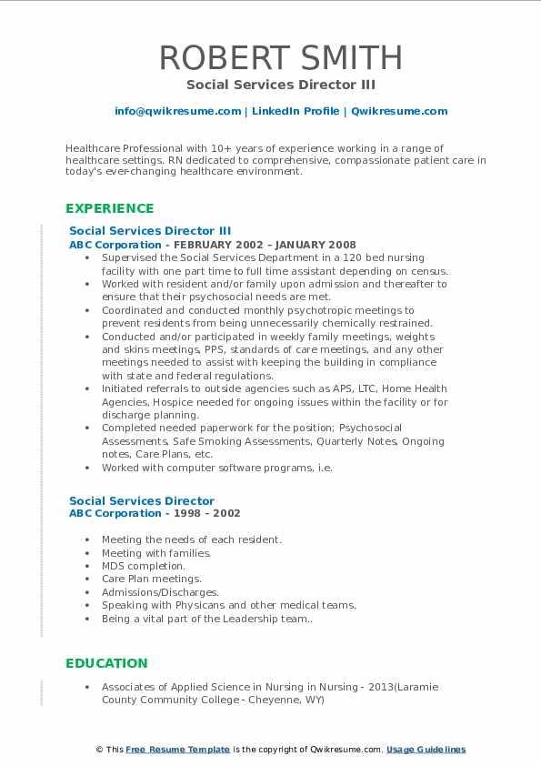 Social Services Director III Resume Model
