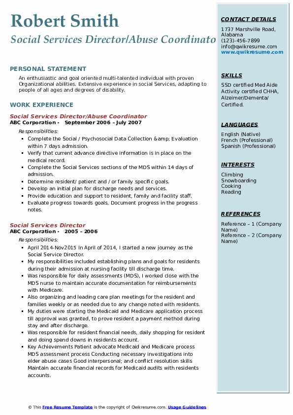 Social Services Director/Abuse Coordinator Resume Template