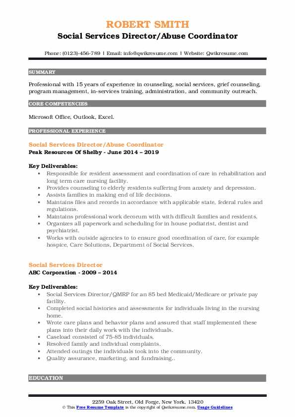 Social Services Director/Abuse Coordinator Resume Example