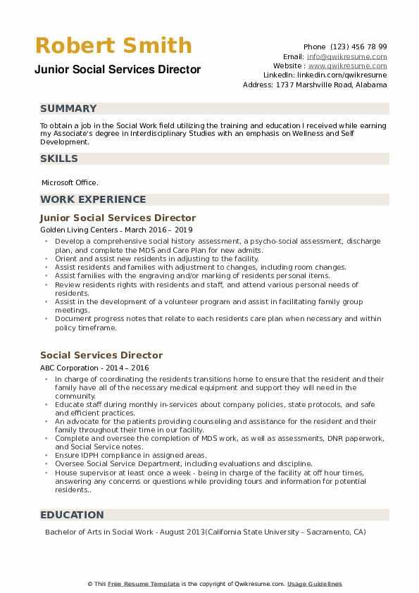 Junior Social Services Director Resume Format