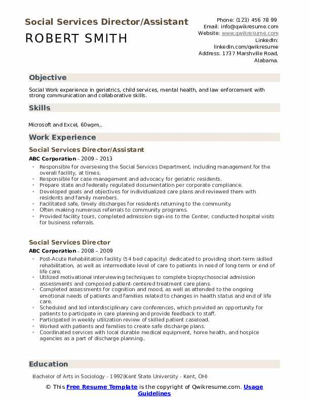 Social Services Director/Assistant Resume Format