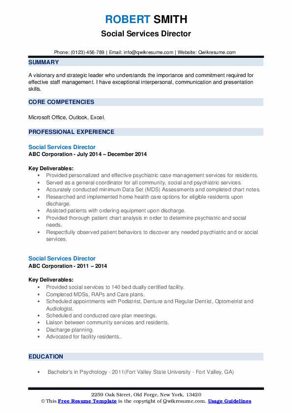 Social Services Director Resume example