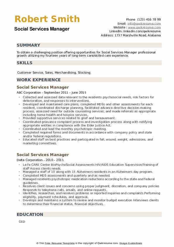 Social Services Manager Resume example