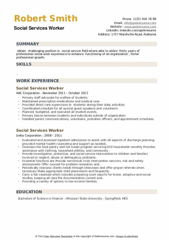 Social Services Worker Resume example