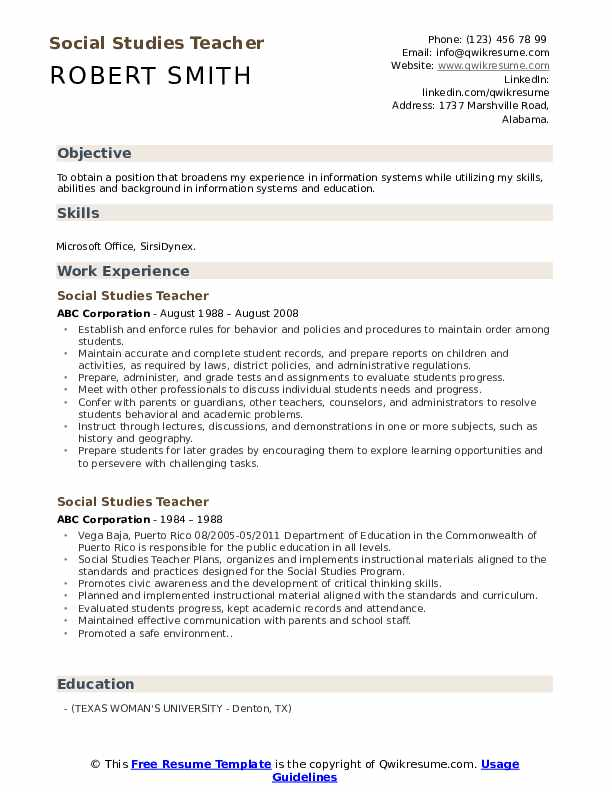 Social Studies Teacher Resume Format