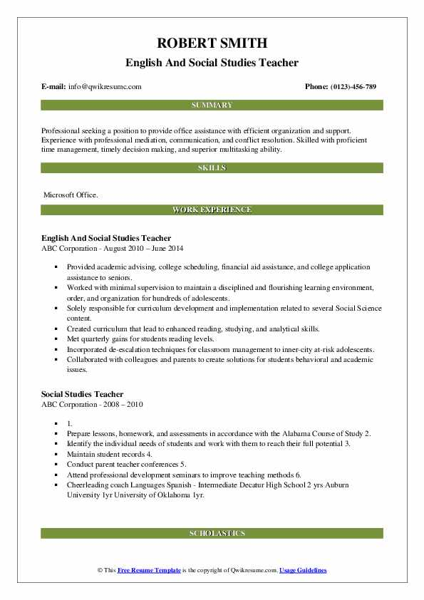 English And Social Studies Teacher Resume Template