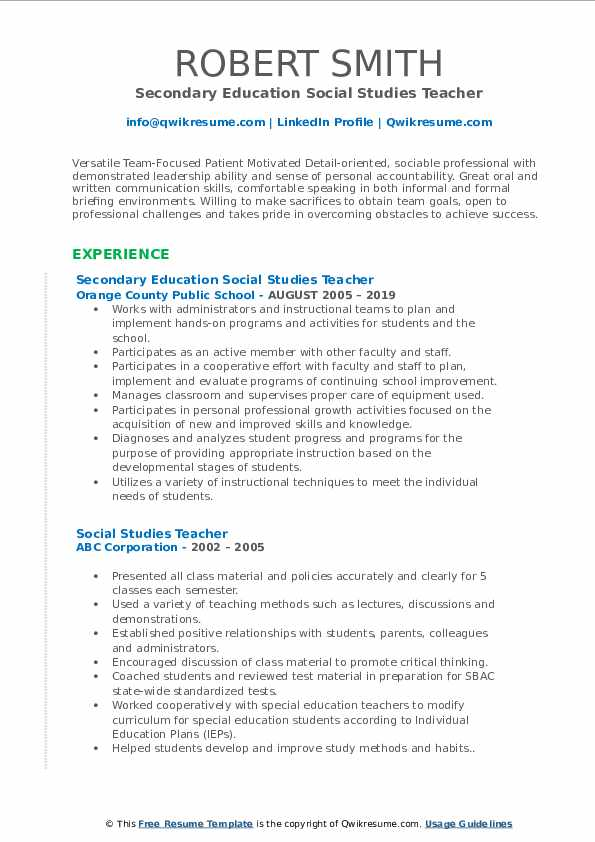 Secondary Education Social Studies Teacher Resume Format