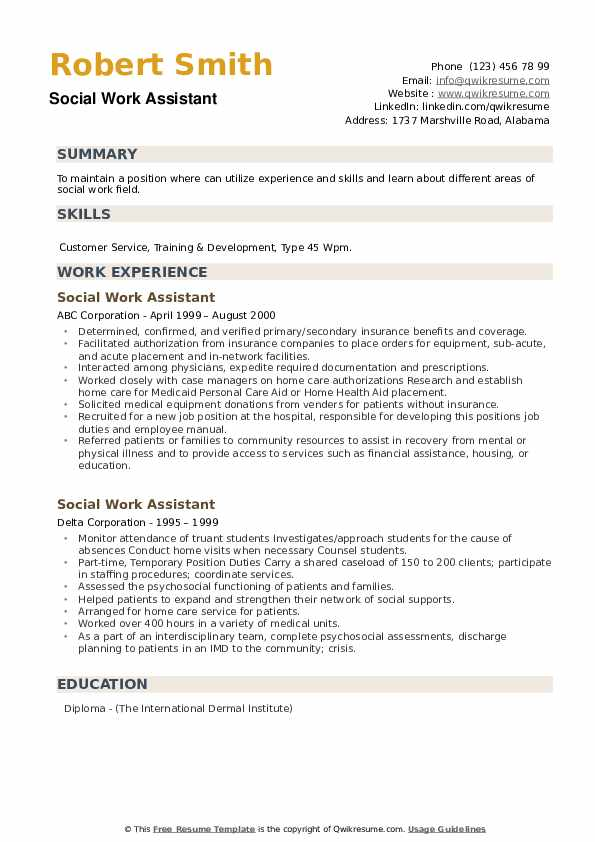 Social Work Assistant Resume example