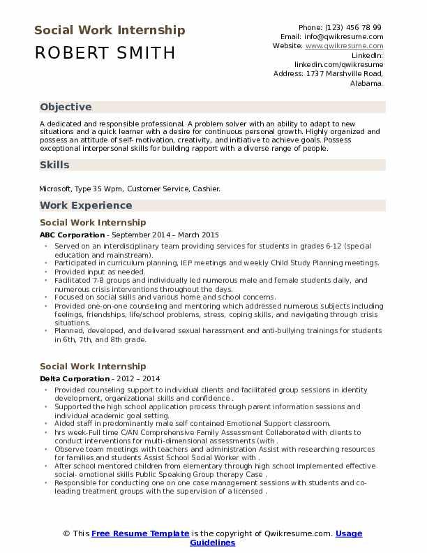 Internship social worker resume custom term paper writer services au