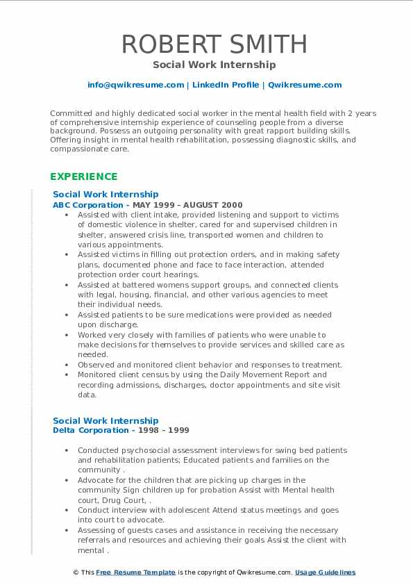 Social Work Internship Resume example