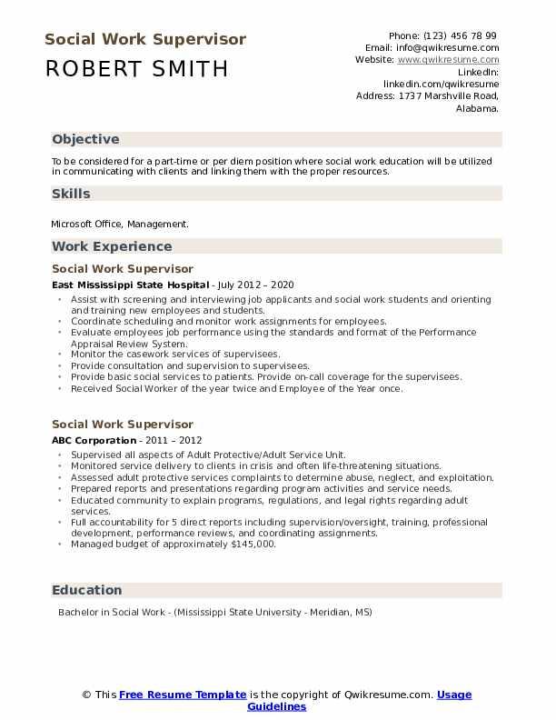 Social Work Supervisor Resume example