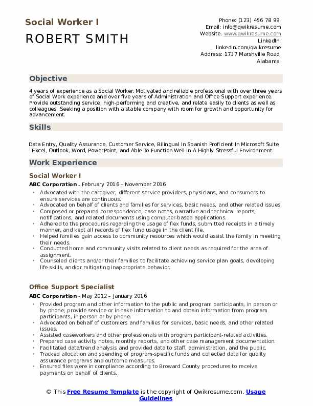 Social Worker I Resume Sample