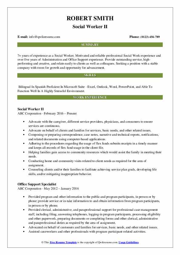 Social Worker II Resume Template
