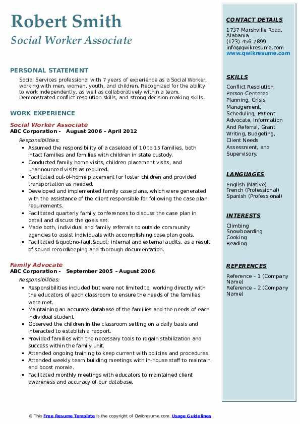 Social Worker Associate Resume Sample