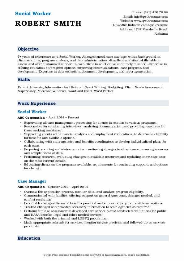 Social Worker Resume Samples | QwikResume