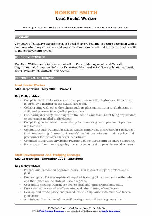 Lead Social Worker Resume Model
