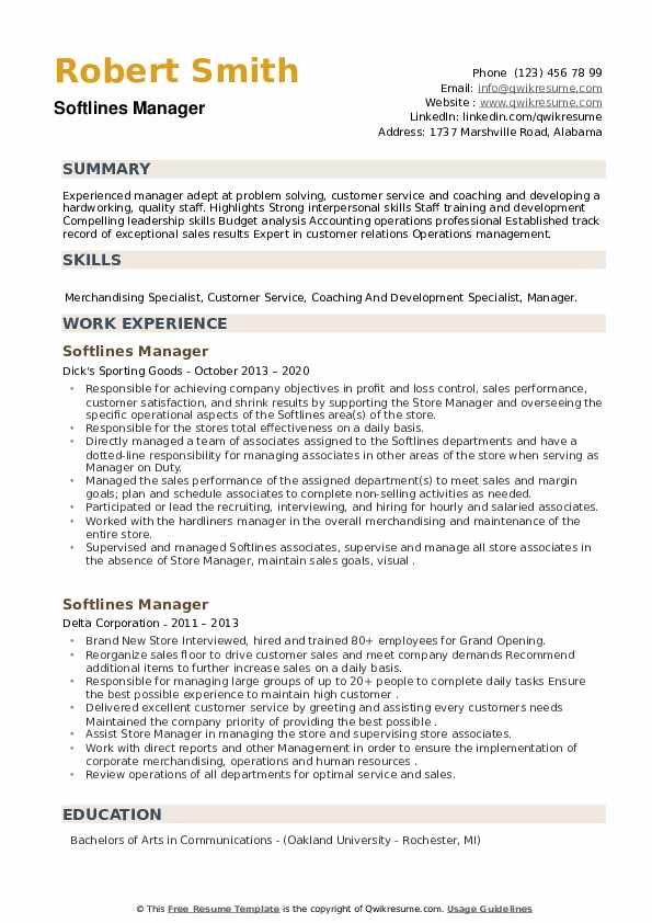 Softlines Manager Resume example