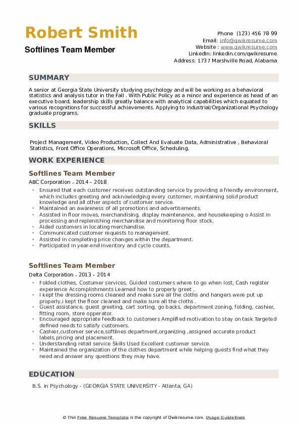 Softlines Team Member Resume example
