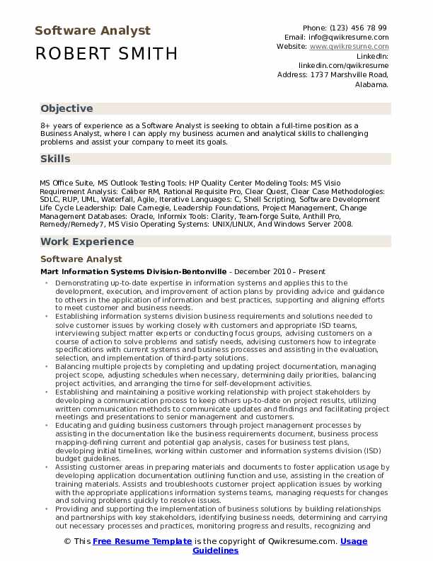 Software Analyst Resume Model