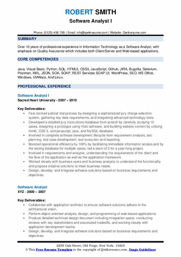 Software Analyst I Resume Template