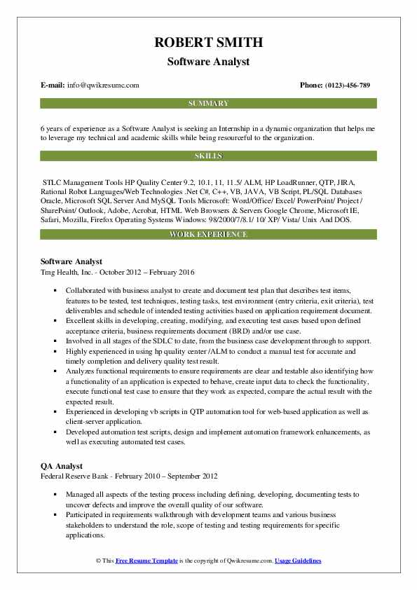 Software Analyst Resume Example