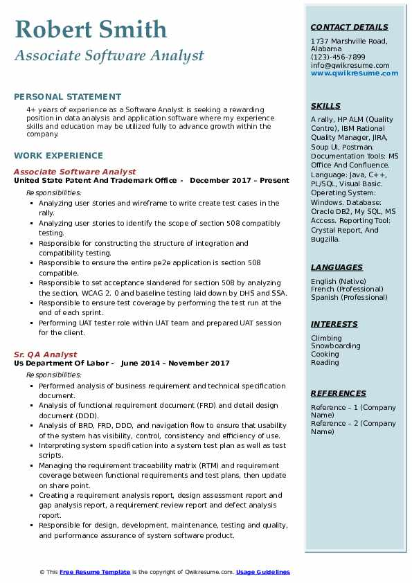Associate Software Analyst Resume Format