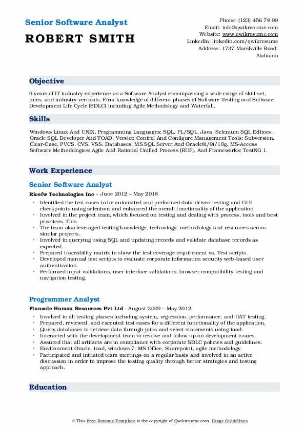 Senior Software Analyst Resume Format