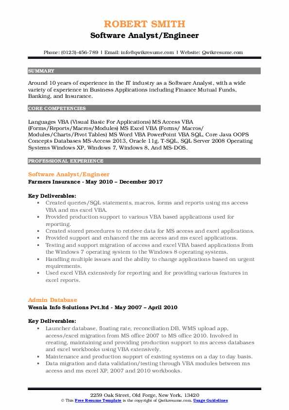 Software Analyst/Engineer Resume Template