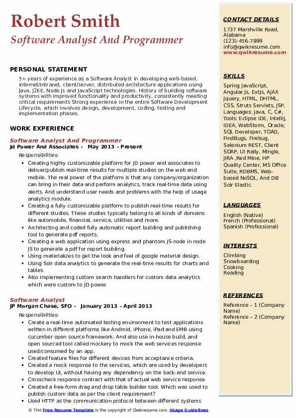 Software Analyst And Programmer Resume Sample