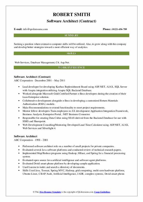 Software Architect (Contract) Resume Example
