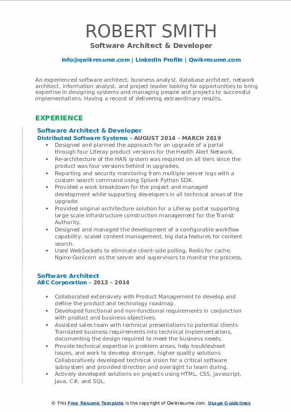 Software Architect & Developer Resume Format
