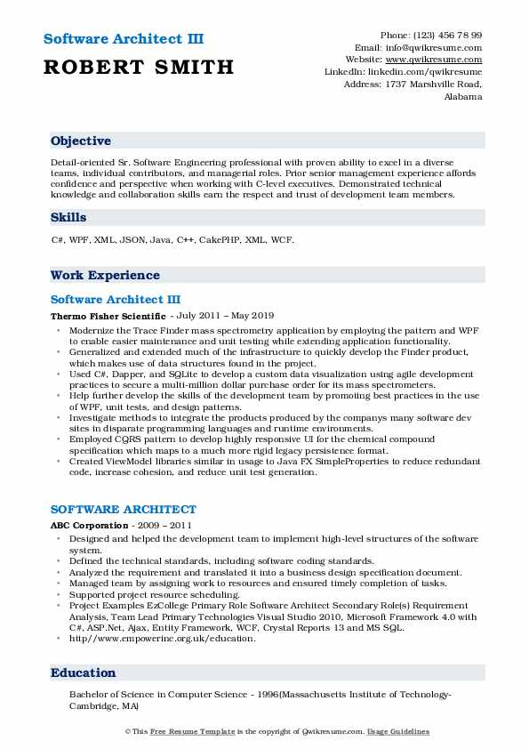 Software Architect III Resume Template