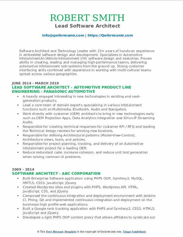 Lead Software Architect Resume Model