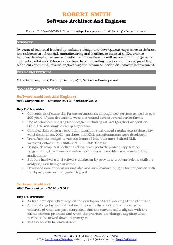 Software Architect And Engineer Resume Sample