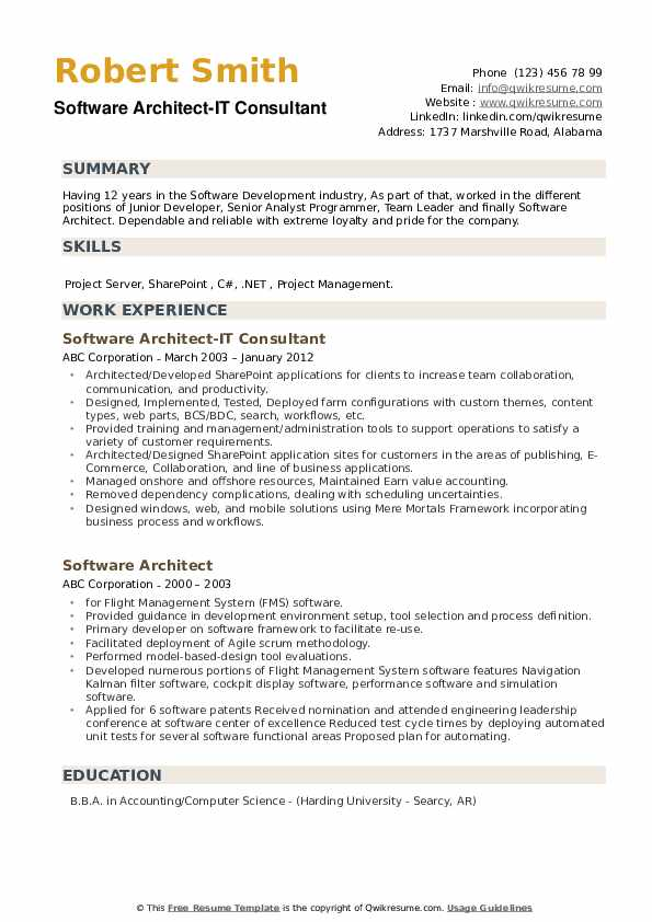 Software Architect-IT Consultant Resume Sample