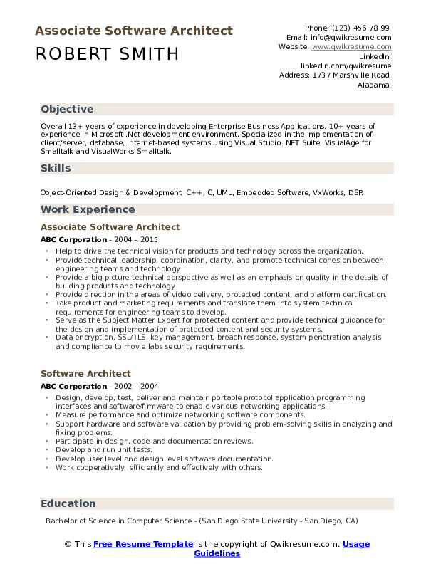 Software Architect Resume Samples Qwikresume