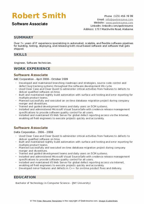 Software Associate Resume example