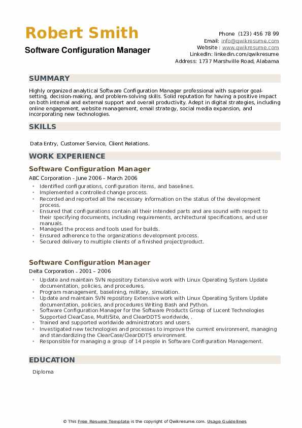 Software Configuration Manager Resume example