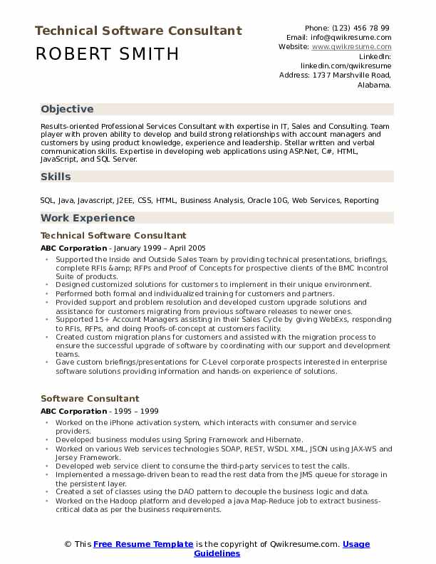 Technical Software Consultant Resume Sample