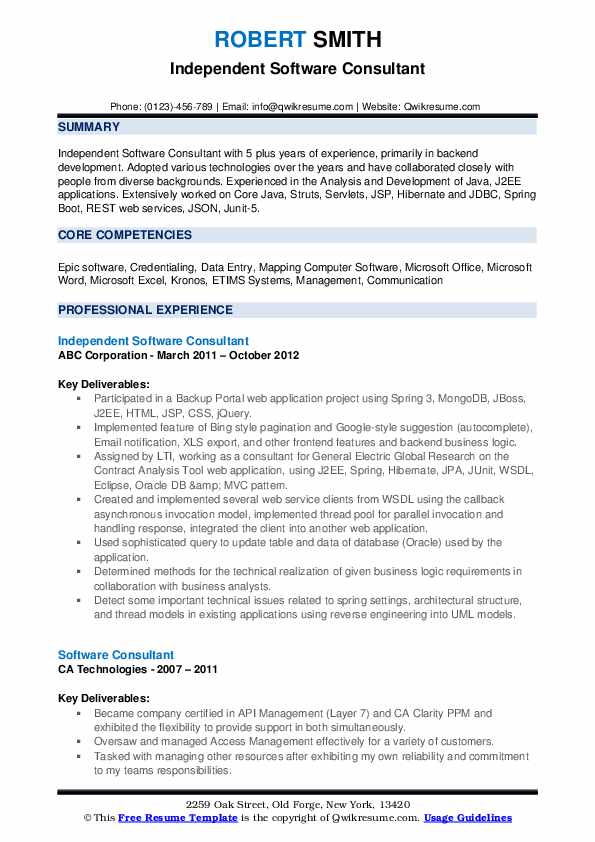Independent Software Consultant Resume Model