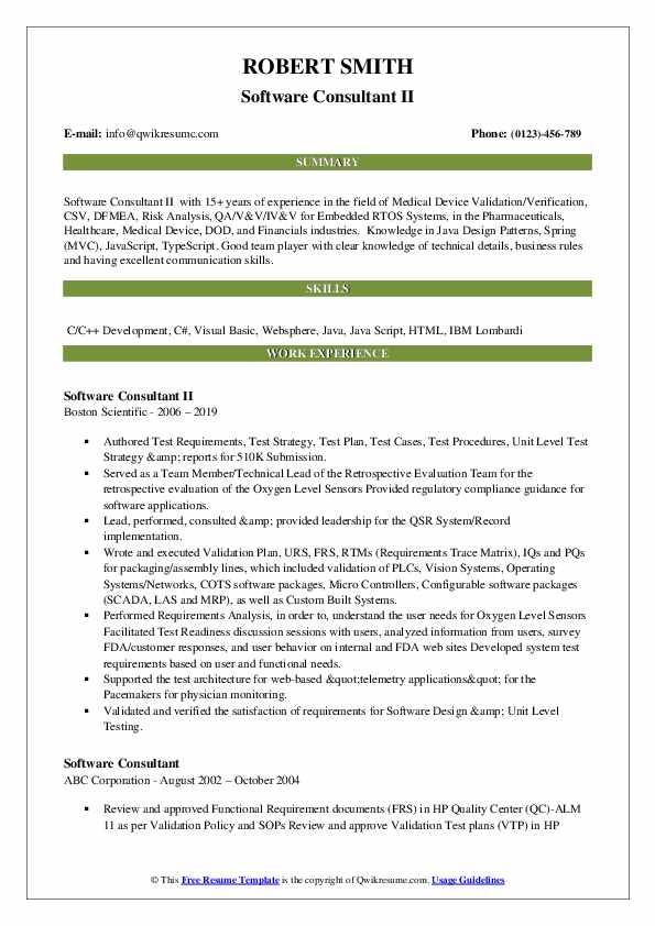 Software Consultant II Resume Template