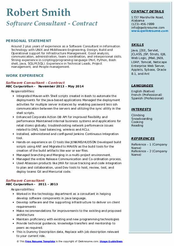 Software Consultant - Contract Resume Model