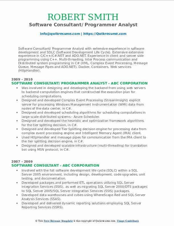 Software Consultant/ Programmer Analyst Resume Format