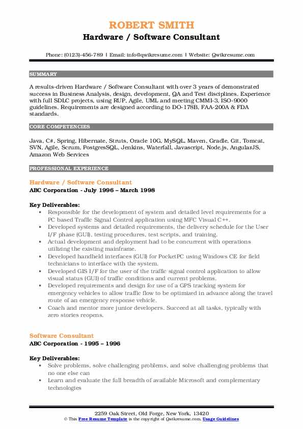 Hardware / Software Consultant Resume Format