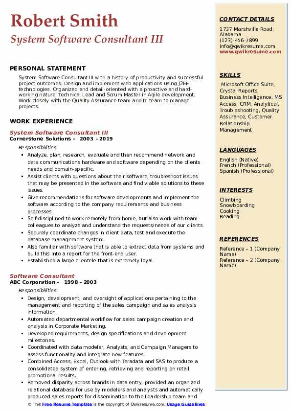 System Software Consultant III Resume Sample