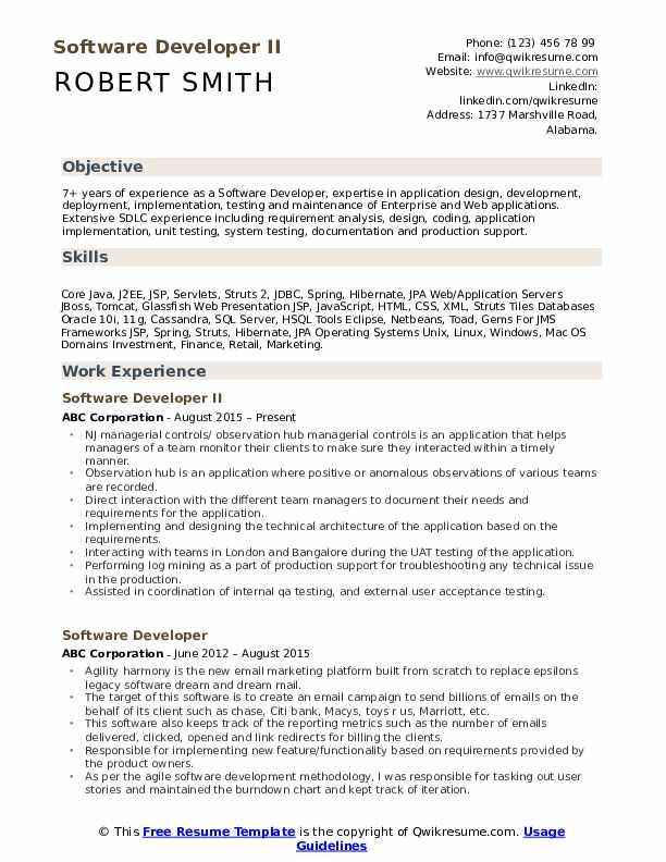 Software Developer II Resume Format